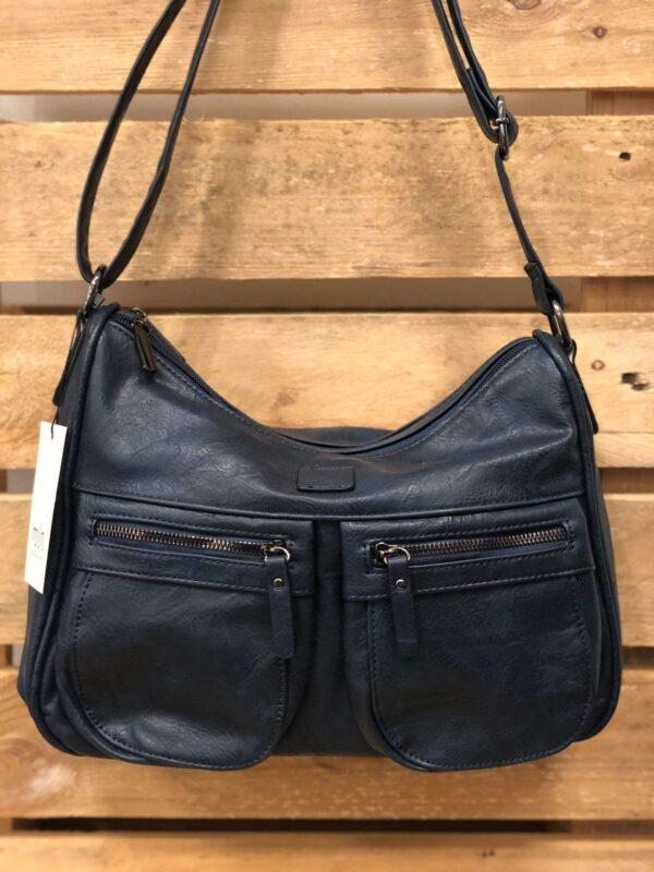 Navyblå crossover taske med 2 lommer