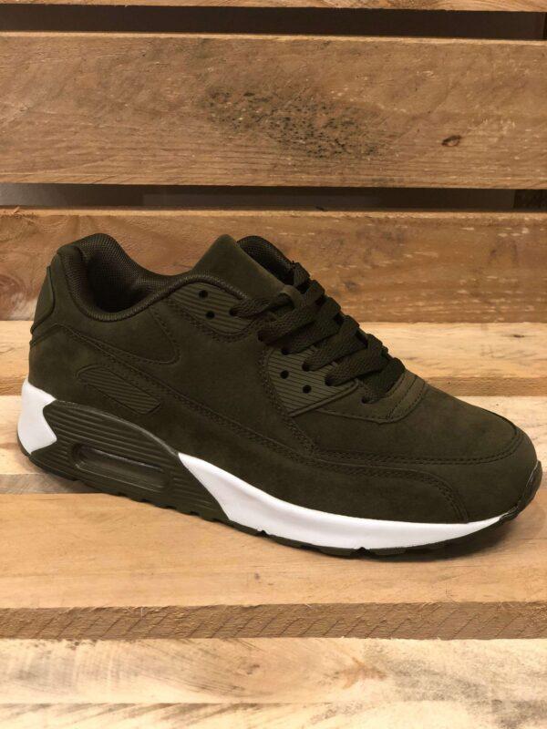 olivengrønne sneakers med hvid sål