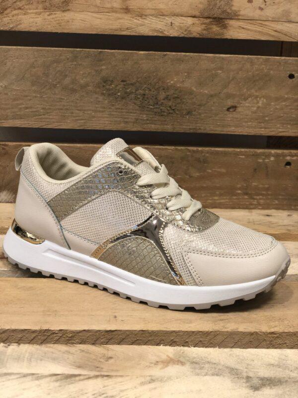 Hvide sneakers med gulddetalje