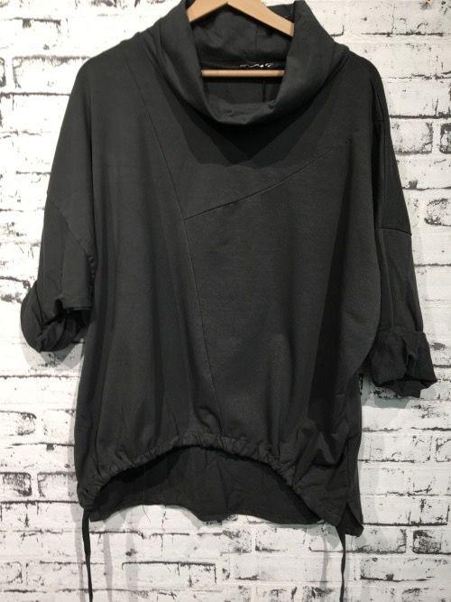 MLN by MALUNA Sweatshirt med rullekrave i grå